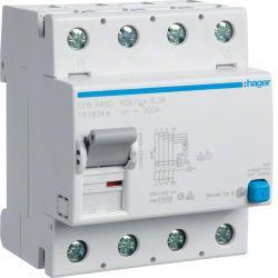 Hager Fehlerstrom-Schutzschalter 4-polig 10 kA 40 A 300 mA Typ B / N rechts