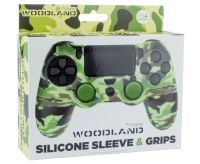 PS4 Silicone Skin + Grips Camo Woodland Englisch