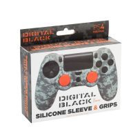 PS4 Silicone Skin + Grips Camo Pixel Black Englisch