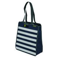 Meori Faltbare Einkaufst.L Marine Blue Stripes - 2 Schulterhenkel - Große Reißverschlusstasche - Hoc