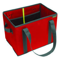 Meori Faltbarer Einkaufskorb Hibiscus Red - 2 Tragegriffe, 2 Schulterhenkel - Elastische Netztasche
