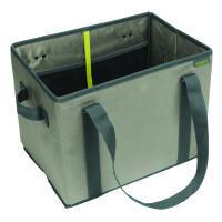 Meori Faltbarer Einkaufskorb Stone Grey Solid - 2 Tragegriffe, 2 Schulterhenkel - Elastische Netztas