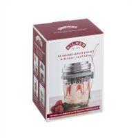 KILNER Frühstücksglas (350 ml) mit Deckel, Messbecher, Löffel und Rezeptbuch, Glas/Edelstahl, Maße: