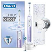 Oral-B Genius 10100S Elektrische Zahnbürste/Electric Toothbrush, mit Zahnfleischschutz-Assistent, 6Putzprogramme inkl. Sensitiv & Zungenreinigung, 2Aufsteckbürsten, 1Premium Lade-Reise-Etui, orchid purple