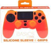 PS4 Silicone Skin + Grips (Orange) Englisch
