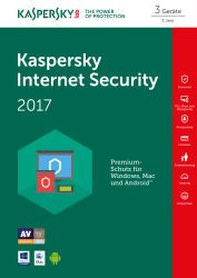 Kaspersky Lab: Internet Security 2017, 3 User, 1 Jahr, PKC (deutsch)