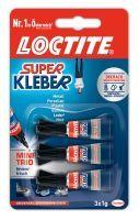 Henkel Loctite, Superkleber flüssig Mini Trio 3x1g, TRANSPARENT, 3x1g