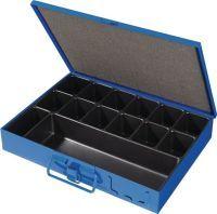 Sortimentskasten B330xT240xH50mm 14 Fächer mit Beschriftungsschild blau