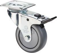 Lenkrolle mit Totalfeststeller Rad-D. 50 mm Tragfähigkeit 50 kg mit Anschraubplatte Kugellager Gumm