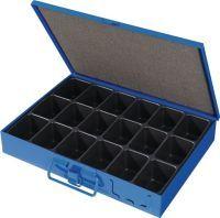 Sortimentskasten B330xT240xH50mm 18 Fächer mit Beschriftungsschild blau