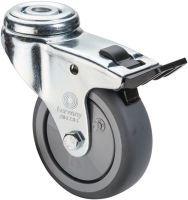 Lenkrolle mit Totalfeststeller Rad-D. 50 mm Tragfähigkeit 50 kg mit Rückenloch 10,2 mm Kugellager G