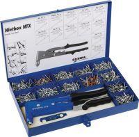 GESIPA Blindnietsortiment Nietbox 942 teilig NTX u.Blindniete Alu/Stahl, Kupfer/Stahl i.Blechkoffer