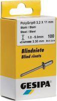 GESIPA Blindniet PolyGrip® Nietschaft d x l 3,2 x 8 mm Stahl / Stahl 100 Stück