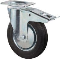 Lenkrolle Rad-D. 200 mm Tragfähigkeit 205 kg mit Totalfeststeller Gummi Platte L135xB110mm