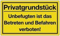 Hinweiszeichen Privatgrundstück L400xB250 mm gelb schwarz Kunststoff
