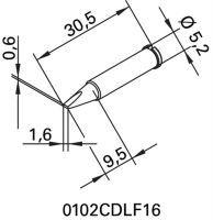 ERSA Lötspitze Serie 102 meißelförmig Breite 1,6 mm 0102 CDLF16/SB