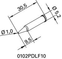 ERSA Lötspitze Serie 102 bleistiftspitz Breite 1 mm 0102 PDLF10/SB
