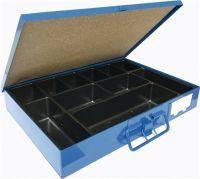 Sortimentskasten B330xT240xH50mm 11 Fächer mit Beschriftungsschild blau