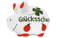 KCG Sparschwein Glücksschwein Keramik mit Stopfen 12x10cm grün / weiß