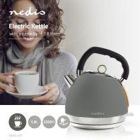 Nedis Wasserkocher / 1.8 l / Soft-Touch / Grau / Um 360 Grad drehbar / Verdecktes Heizelement / Strix® Controller / Boil-dry protection