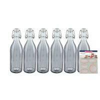 Leifheit 6er Set Flasche facette 0,5 L smokey grey Saftflasche Einkochflasche Einkochhilfe + 20 Stück Etiketten Beschriftung