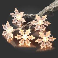 Hellum 10-teilige LED Schneeflockenkette warm-weiß für innen