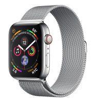 Apple Watch Series 4 GPS + Cellular, Edelstahl 44 mm mit Milanaisearmband, silber