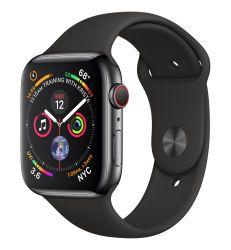 Apple Watch Series 4 GPS + Cellular, Edelstahl space schwarz, 44 mm mit Sportarmband, schwarz