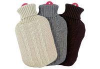 Wärmflasche Gummi/Strickbezug Zopfmuster sortiert (braun/grau/beige) (F91 grey)