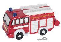 Spardose Feuerwehr Poly mit Schlüssel & Schloss 22x10cm rot/weiß ()