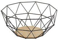 GUSTA Deko-Obstkorb Metall mit Holzboden 26,5x25x12cm schwarz (01-15824-0)