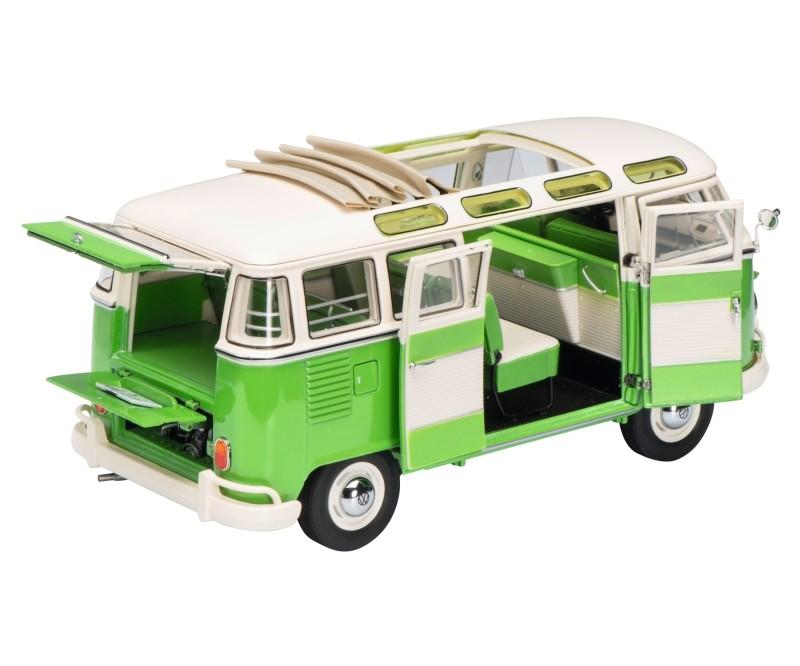 schuco vw t1 samba, grün-weiß 1:18-450028600